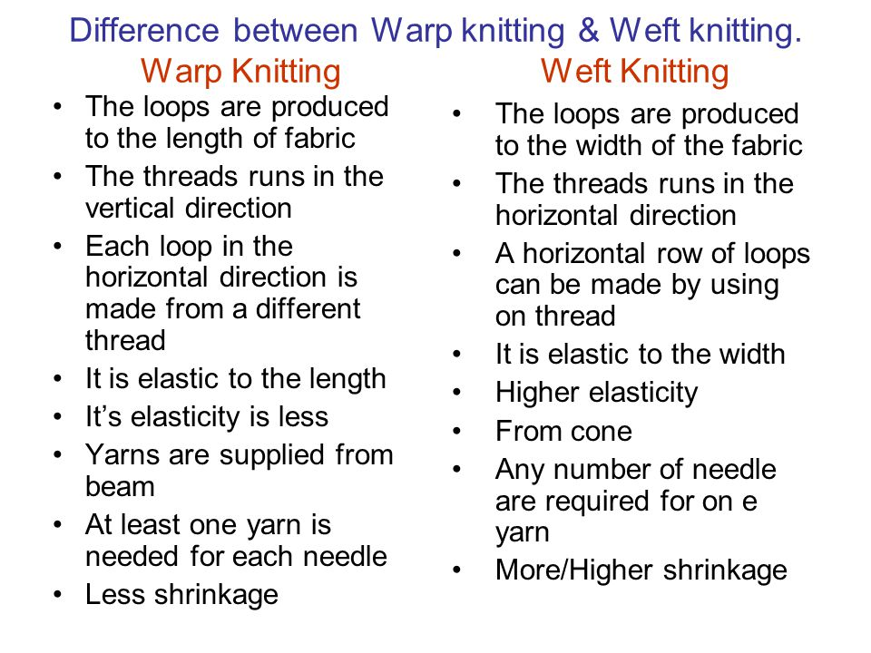 Difference between Warp knitting & Weft knitting