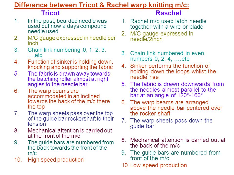 Difference between Tricot & Rachel warp knitting m/c: Tricot Raschel
