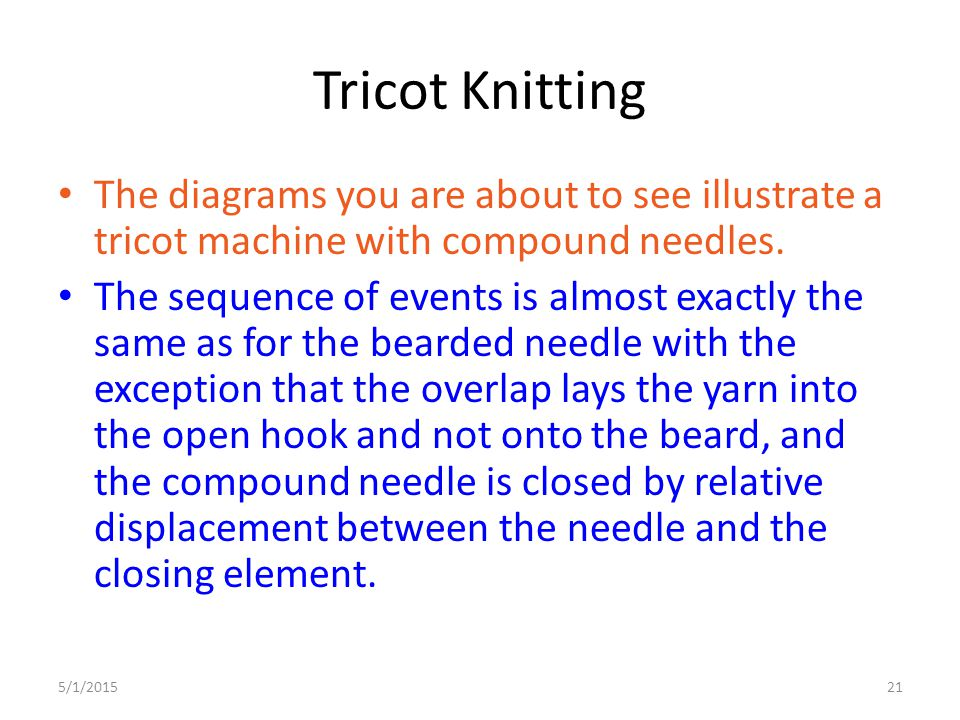 Tricot Knitting The diagrams you are about to see illustrate a tricot machine with compound needles.