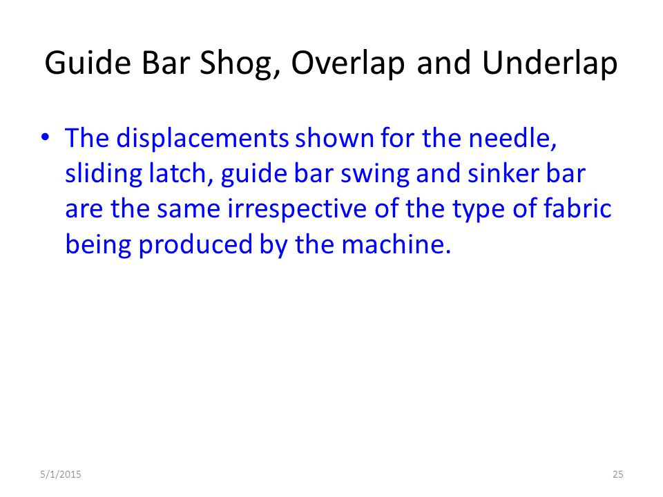 Guide Bar Shog, Overlap and Underlap