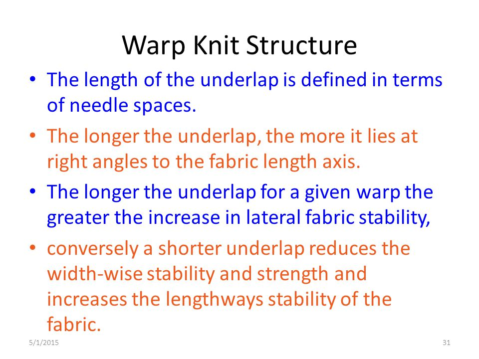 Warp Knit Structure The length of the underlap is defined in terms of needle spaces.