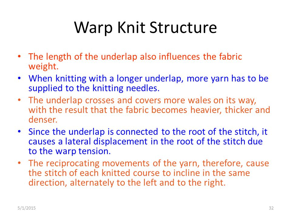 Warp Knit Structure The length of the underlap also influences the fabric weight.