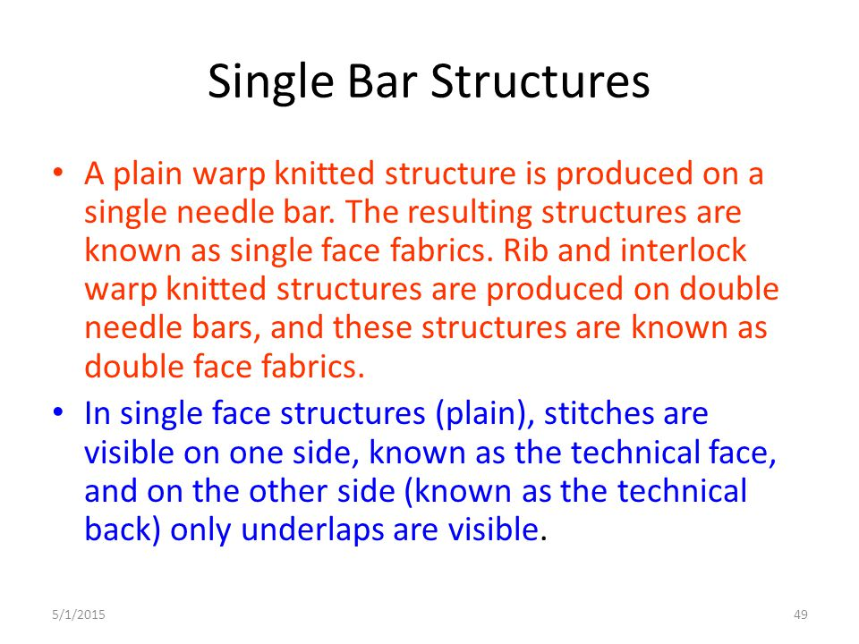Single Bar Structures