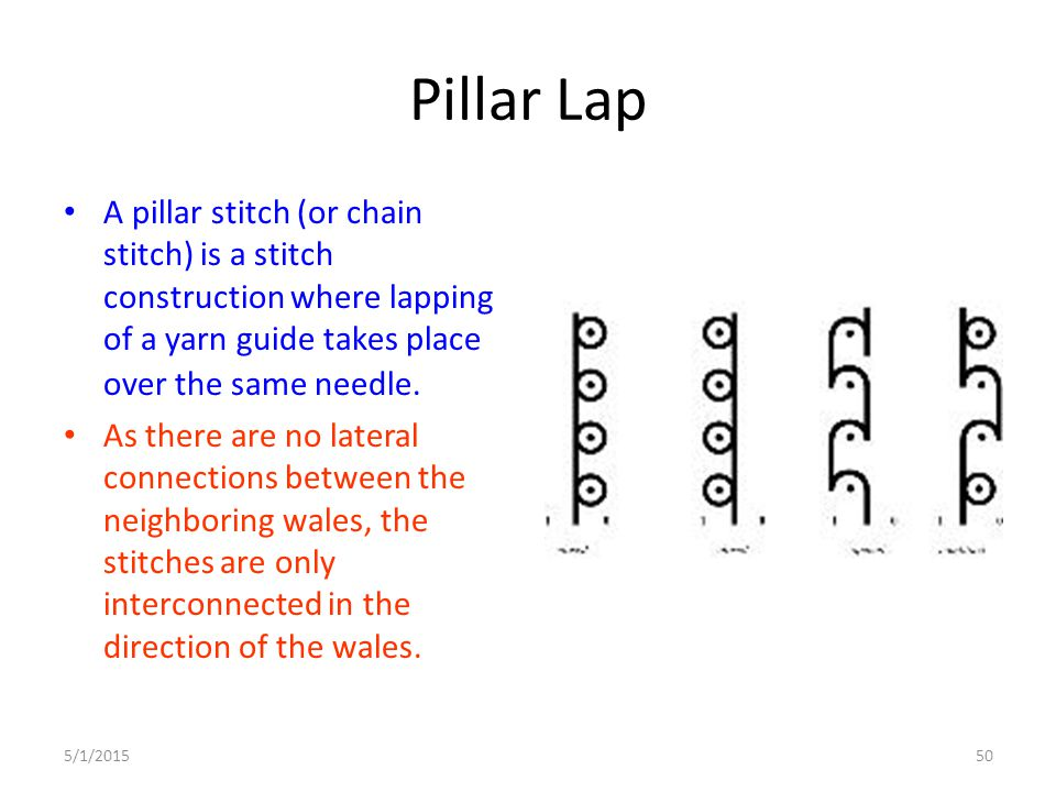 Pillar Lap A pillar stitch (or chain stitch) is a stitch construction where lapping of a yarn guide takes place over the same needle.