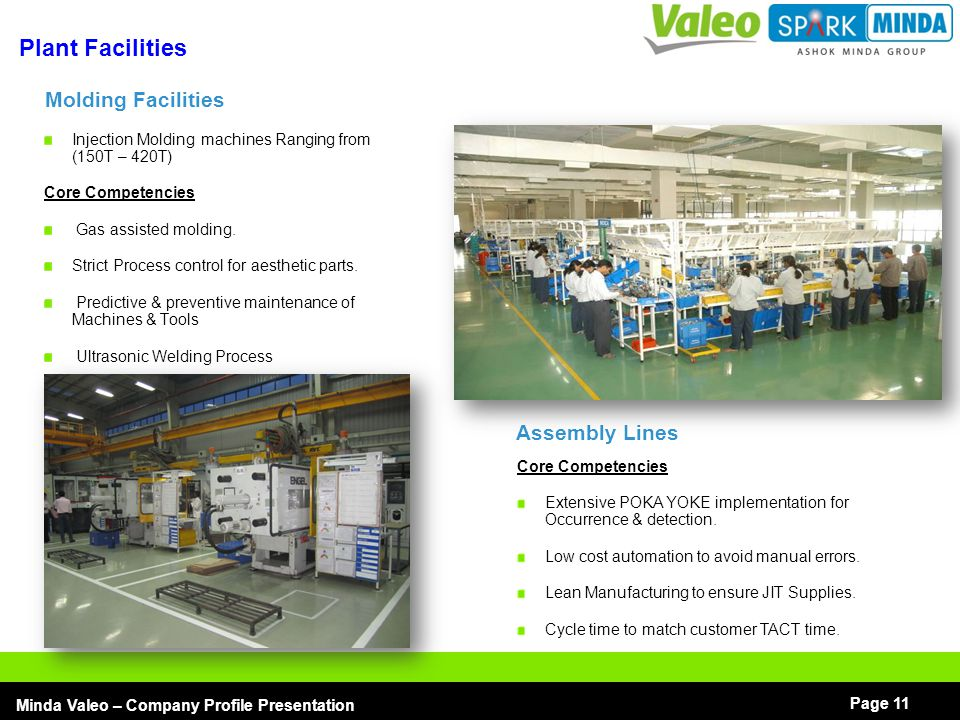 Plant Facilities Molding Facilities Assembly Lines