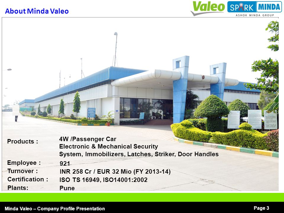 About Minda Valeo 4W /Passenger Car Products :