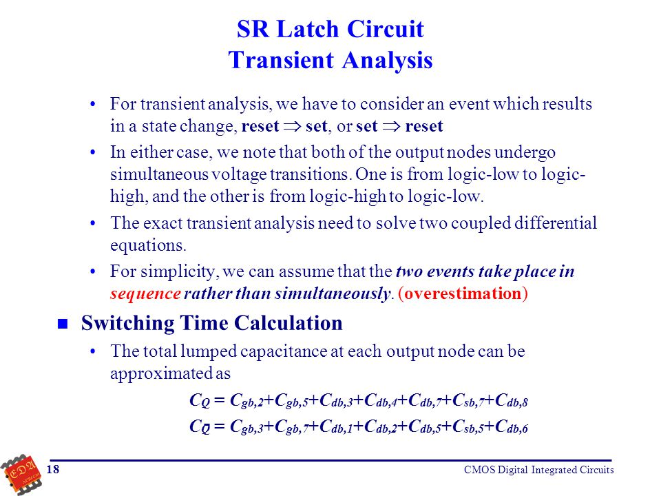 SR Latch Circuit Transient Analysis