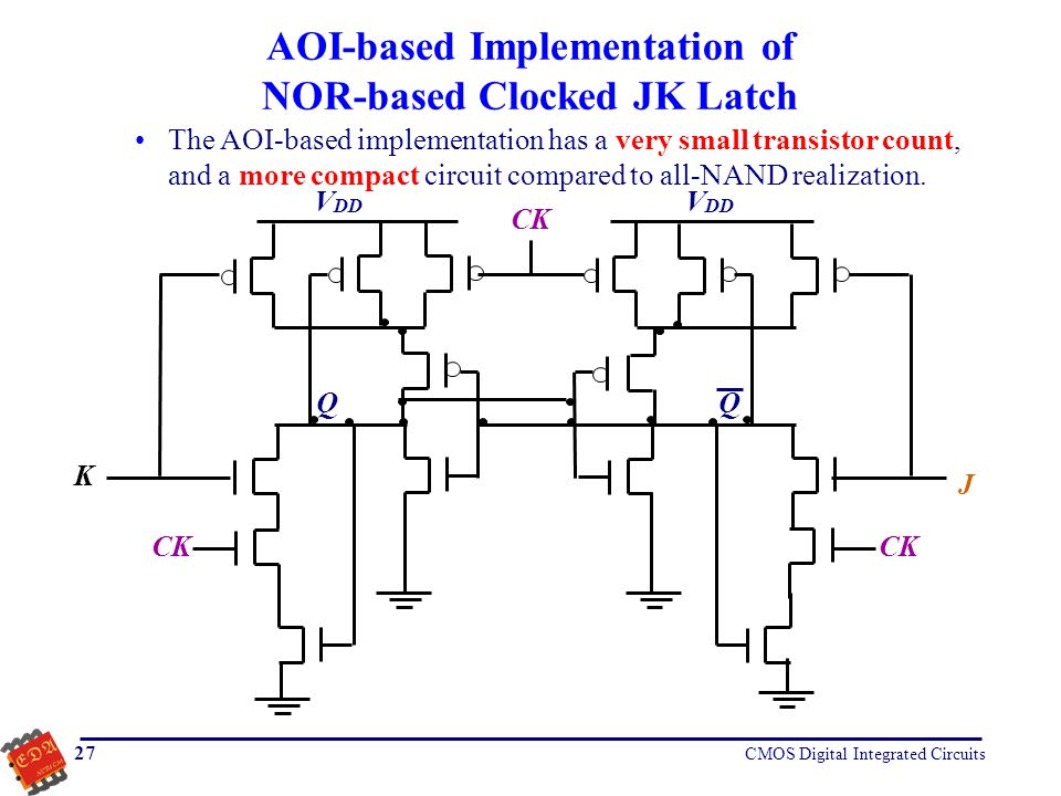 AOI-based Implementation of NOR-based Clocked JK Latch
