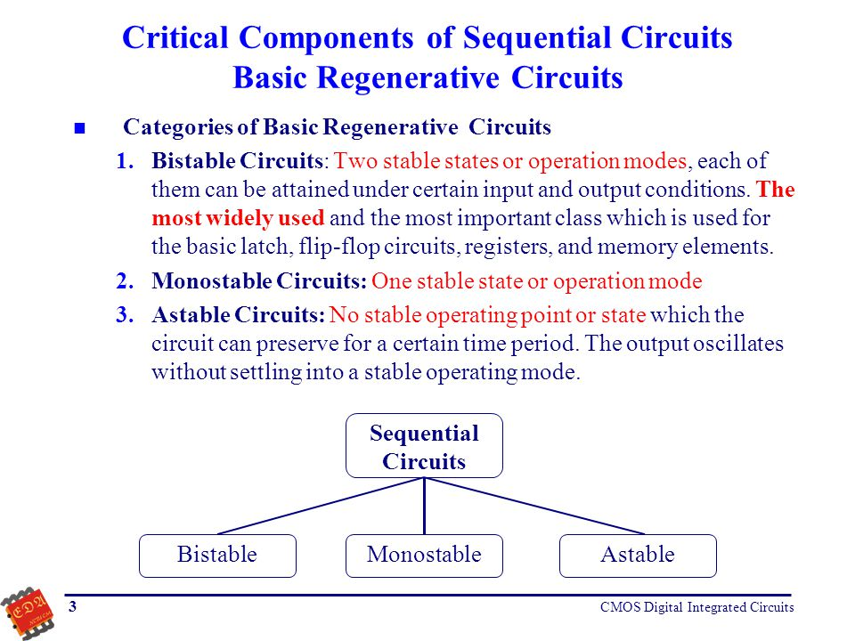 Critical Components of Sequential Circuits Basic Regenerative Circuits