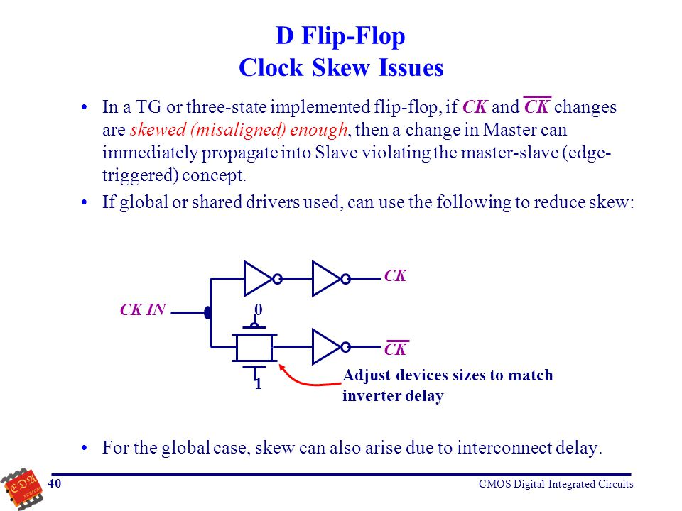 D Flip-Flop Clock Skew Issues