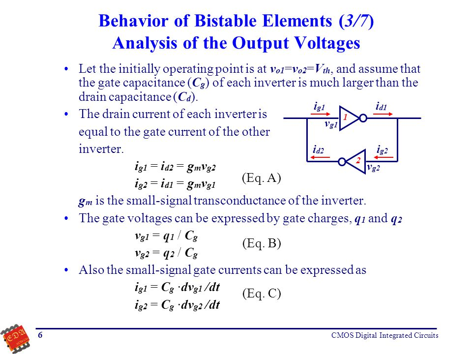 Behavior of Bistable Elements (3/7) Analysis of the Output Voltages