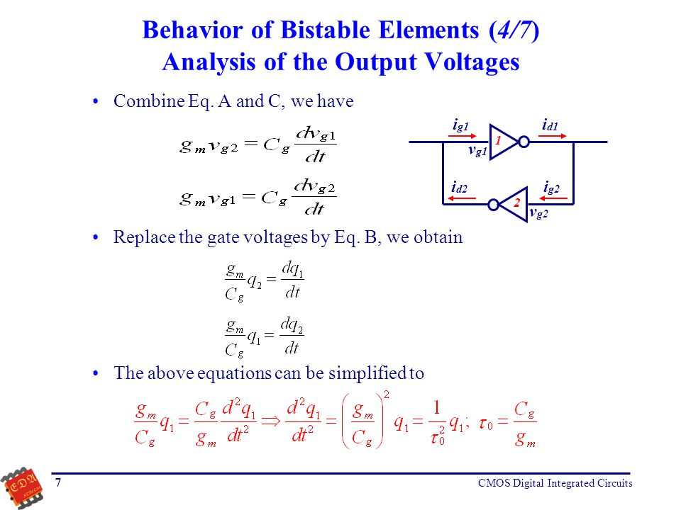 Behavior of Bistable Elements (4/7) Analysis of the Output Voltages
