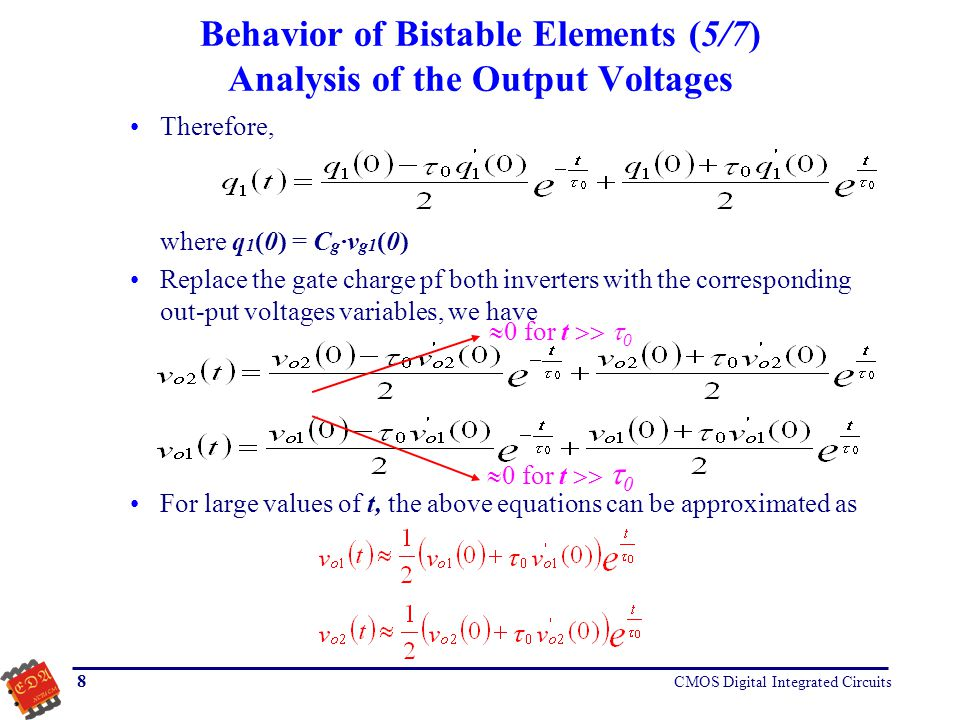 Behavior of Bistable Elements (5/7) Analysis of the Output Voltages