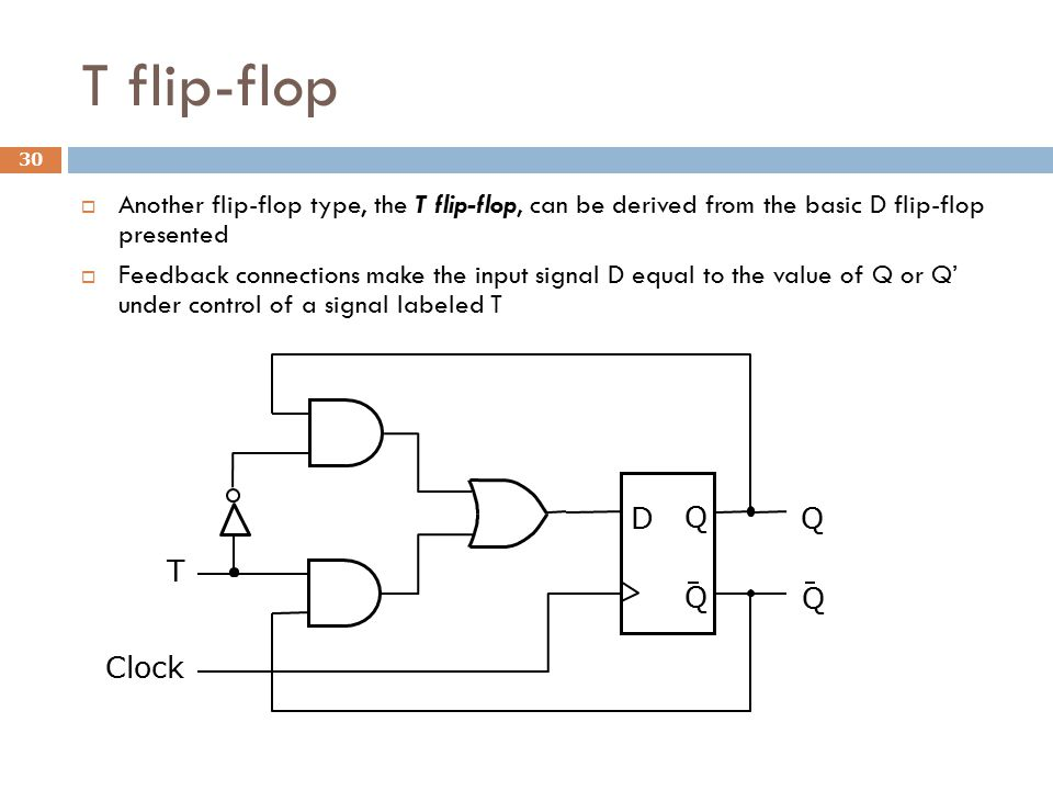 T flip-flop Another flip-flop type, the T flip-flop, can be derived from the basic D flip-flop presented.