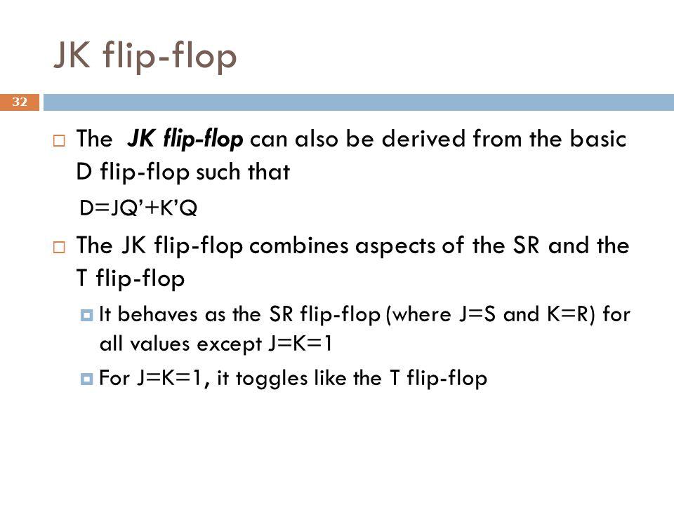 JK flip-flop The JK flip-flop can also be derived from the basic D flip-flop such that. D=JQ'+K'Q.