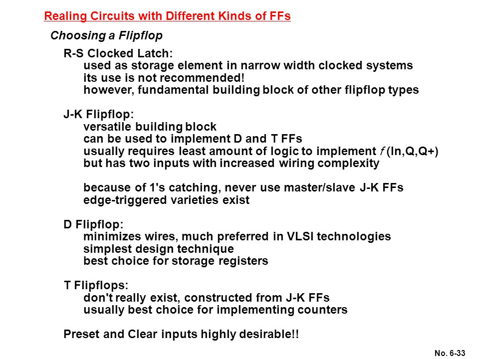 Realing Circuits with Different Kinds of FFs