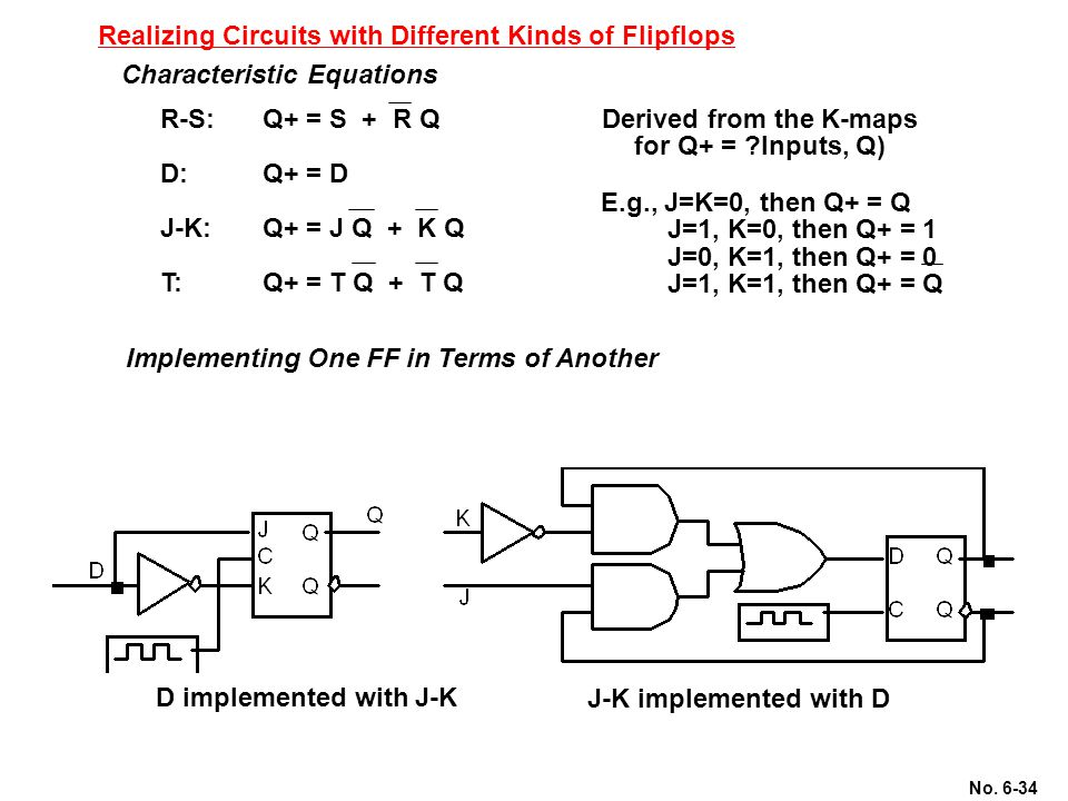 Realizing Circuits with Different Kinds of Flipflops