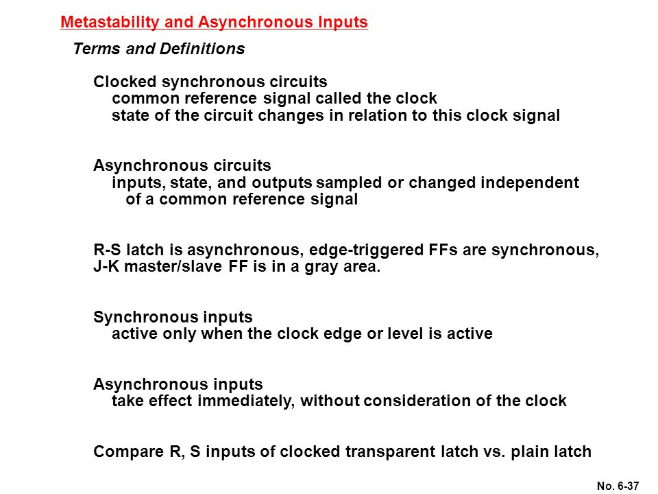 Metastability and Asynchronous Inputs