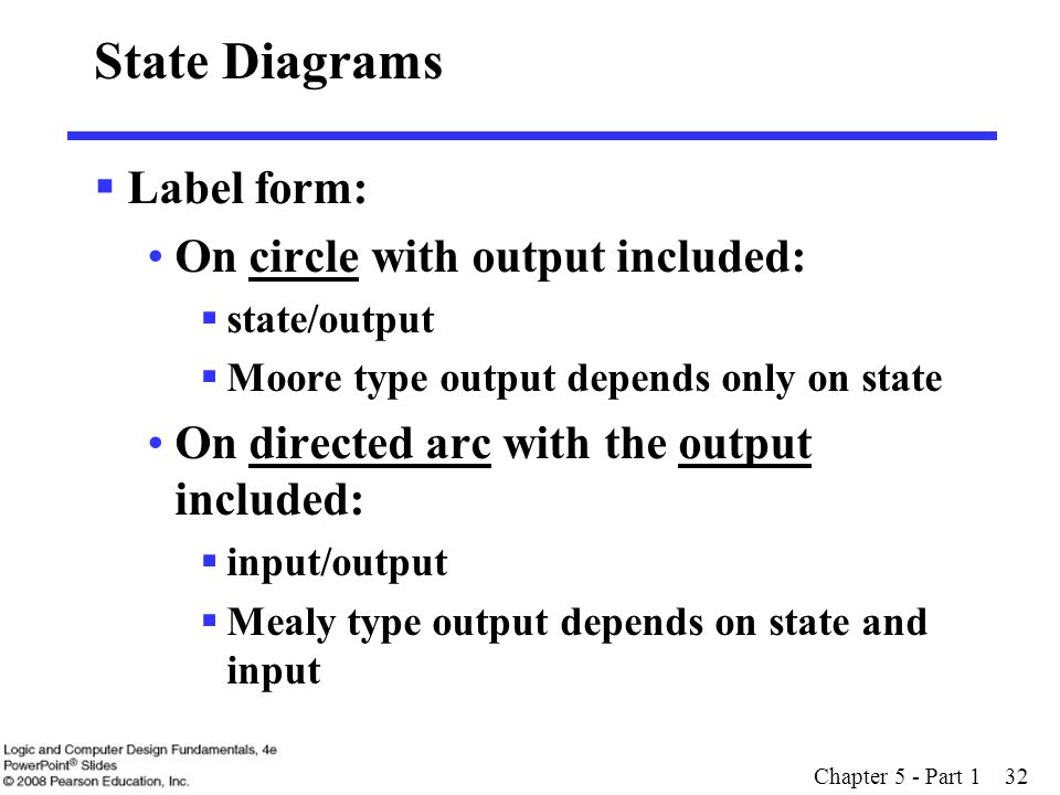 State Diagrams Label form: On circle with output included: