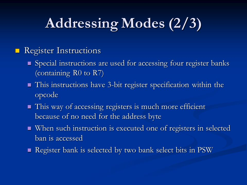 Addressing Modes (2/3) Register Instructions
