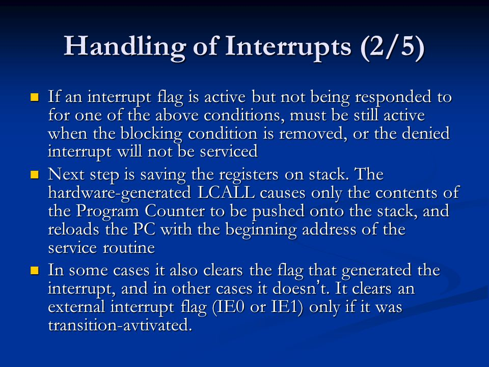 Handling of Interrupts (2/5)
