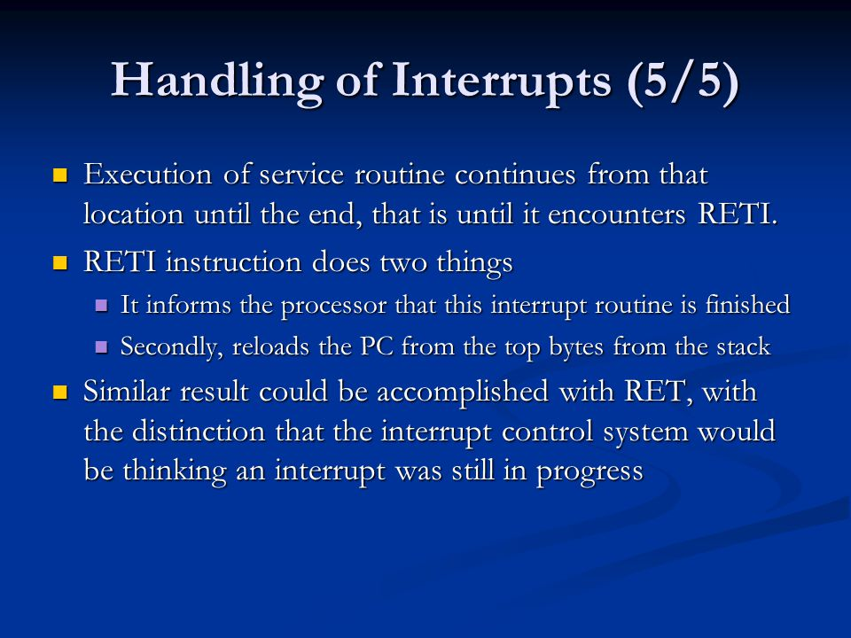 Handling of Interrupts (5/5)