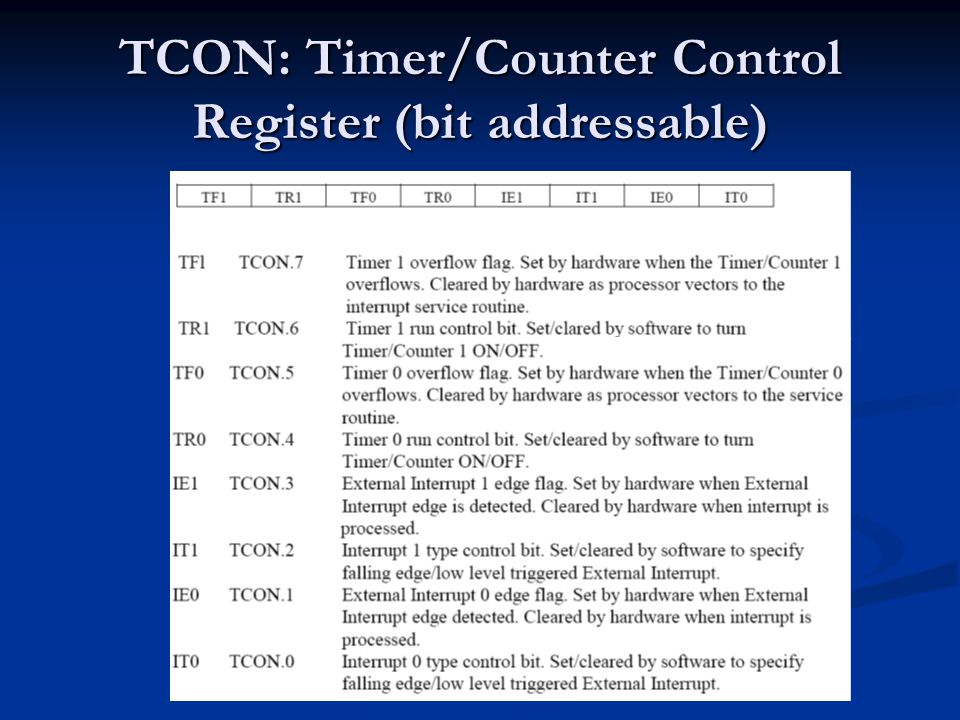 TCON: Timer/Counter Control Register (bit addressable)