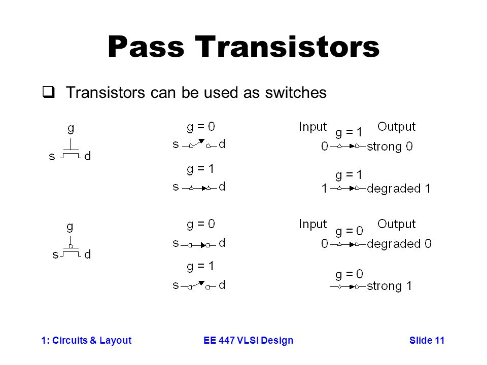 Pass Transistors Transistors can be used as switches