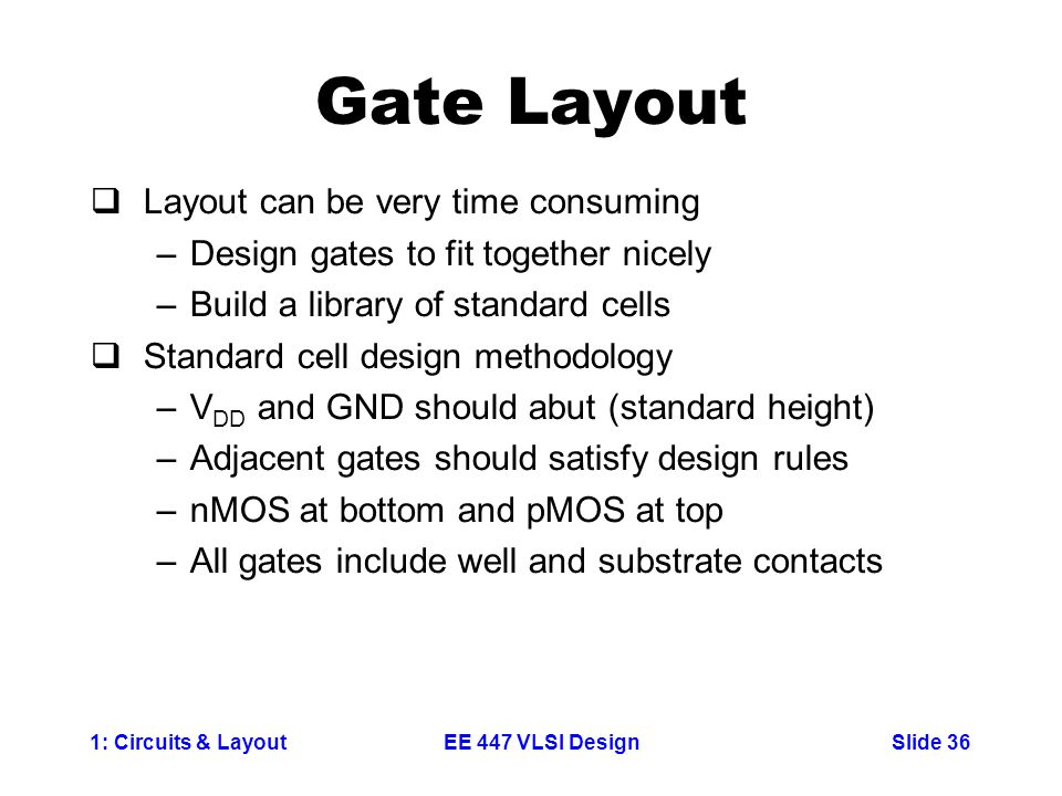 Gate Layout Layout can be very time consuming