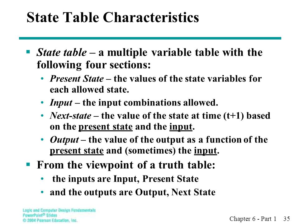 State Table Characteristics