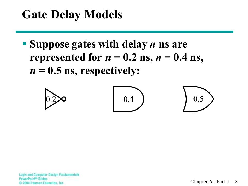 Gate Delay Models Suppose gates with delay n ns are represented for n = 0.2 ns, n = 0.4 ns, n = 0.5 ns, respectively: