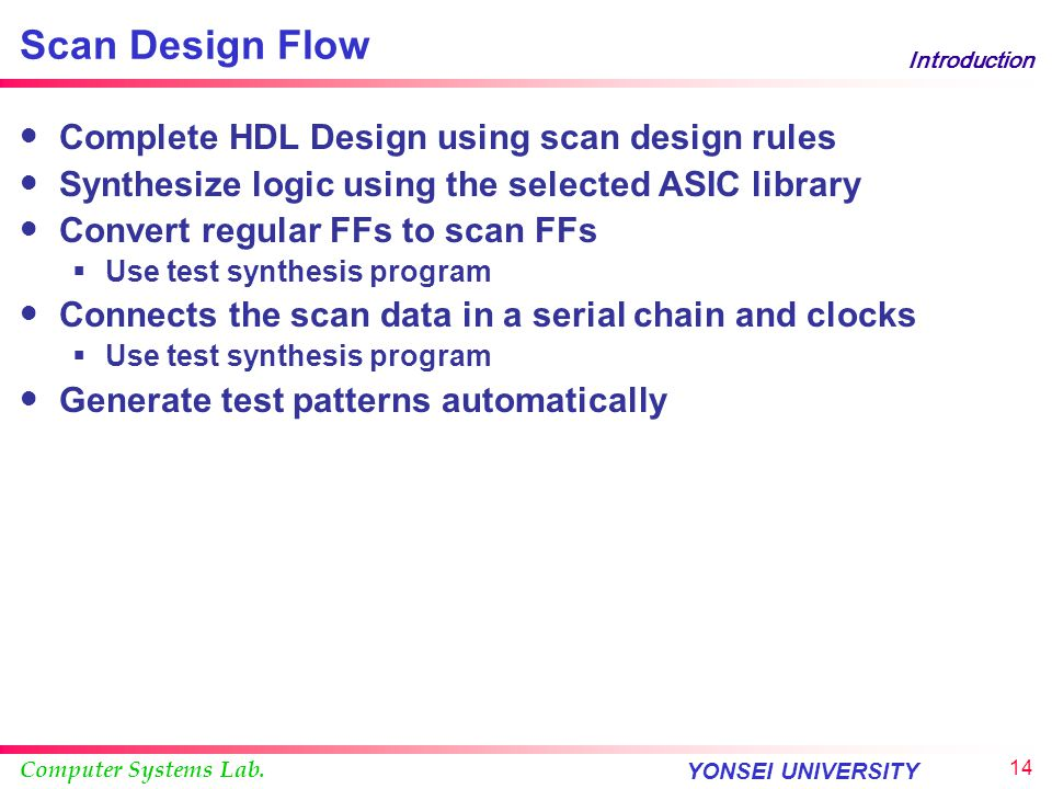 Scan Design Flow Complete HDL Design using scan design rules