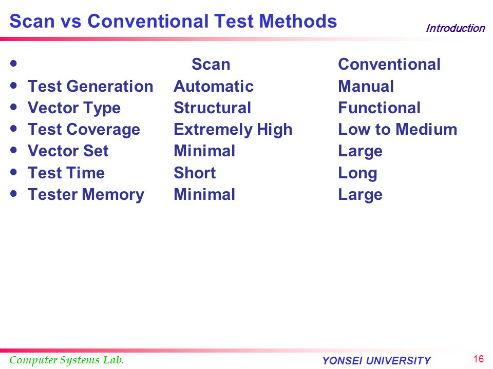 Scan vs Conventional Test Methods