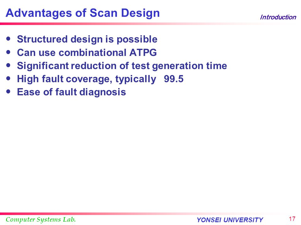 Advantages of Scan Design