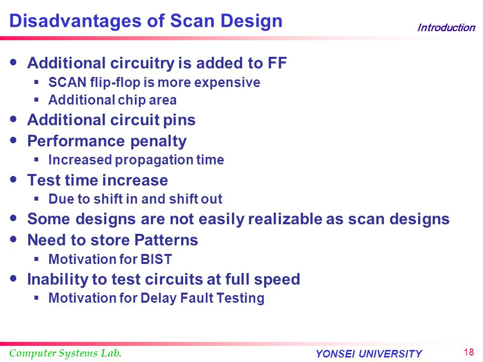 Disadvantages of Scan Design