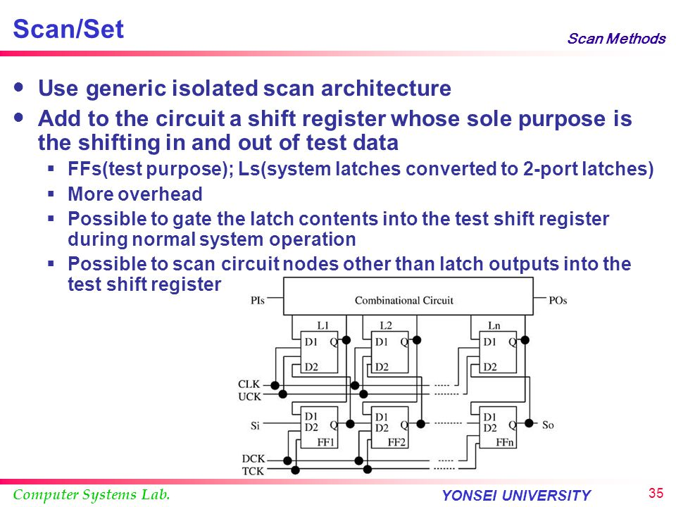 Scan/Set Use generic isolated scan architecture