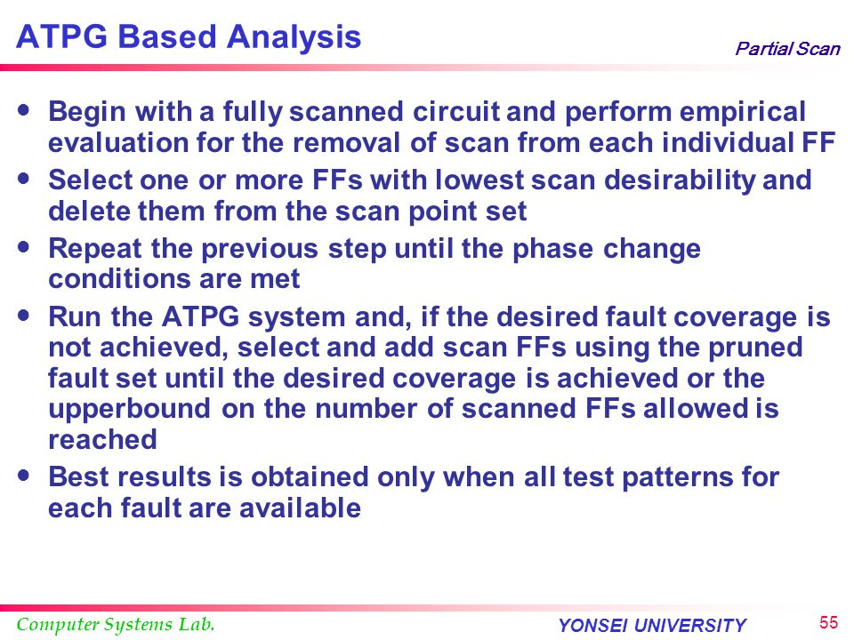 ATPG Based Analysis Partial Scan.