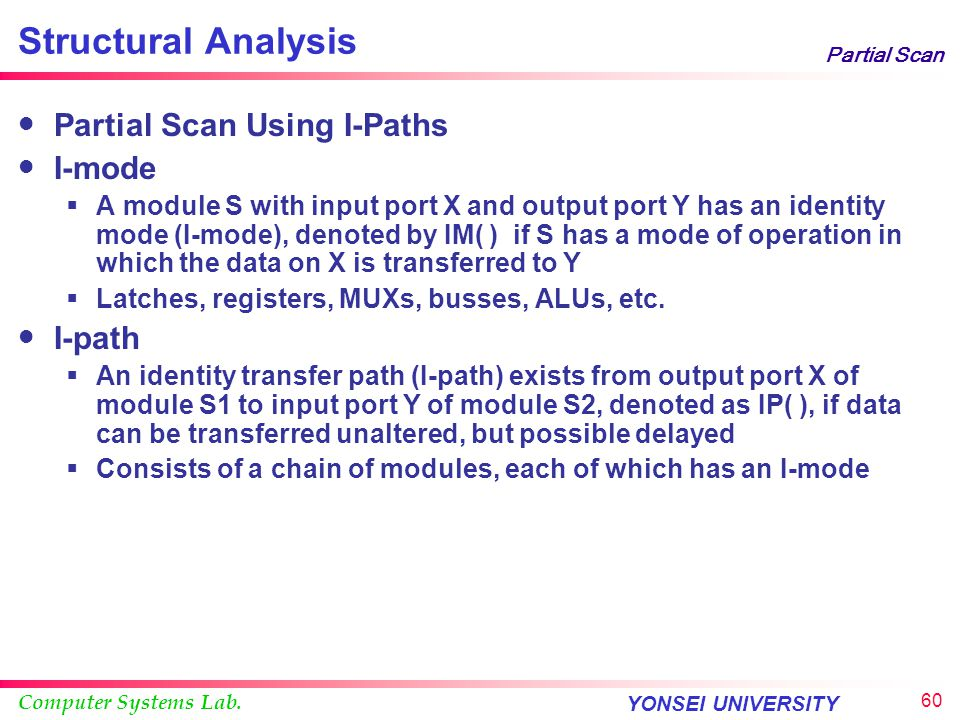 Structural Analysis Partial Scan Using I-Paths I-mode I-path
