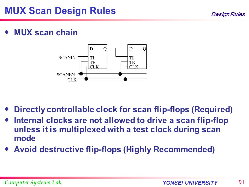 MUX Scan Design Rules MUX scan chain