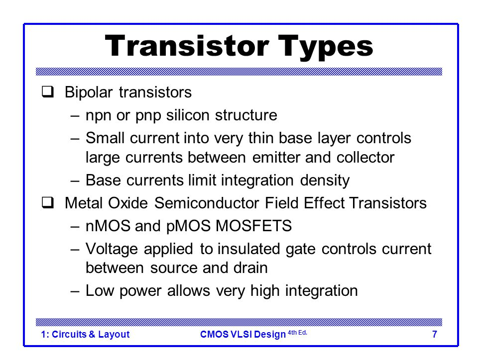 Transistor Types Bipolar transistors npn or pnp silicon structure
