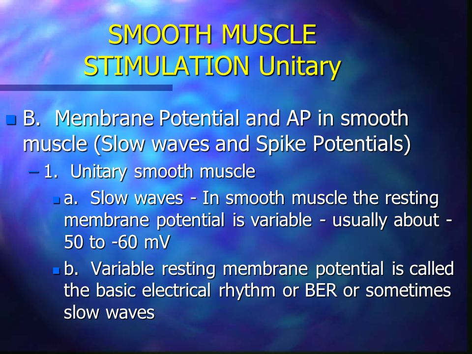 SMOOTH MUSCLE STIMULATION Unitary