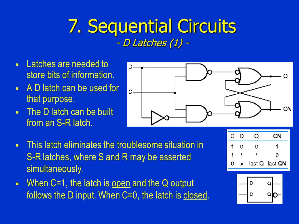 7. Sequential Circuits - D Latches (1) -