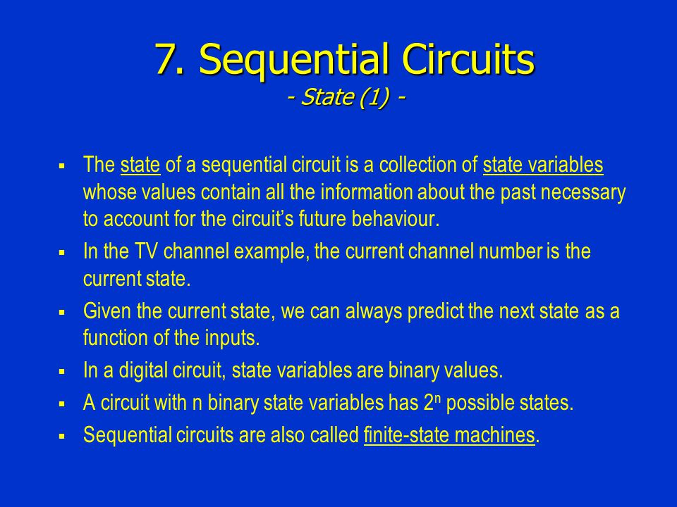 7. Sequential Circuits - State (1) -