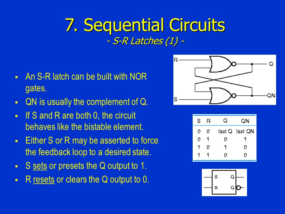 7. Sequential Circuits - S-R Latches (1) -