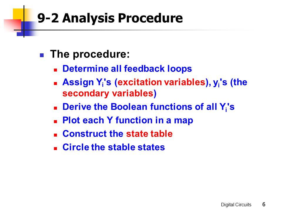 9-2 Analysis Procedure The procedure: Determine all feedback loops
