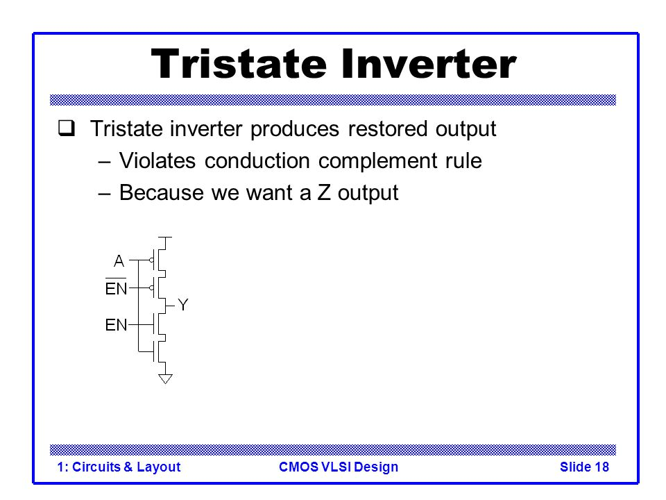 Tristate Inverter Tristate inverter produces restored output