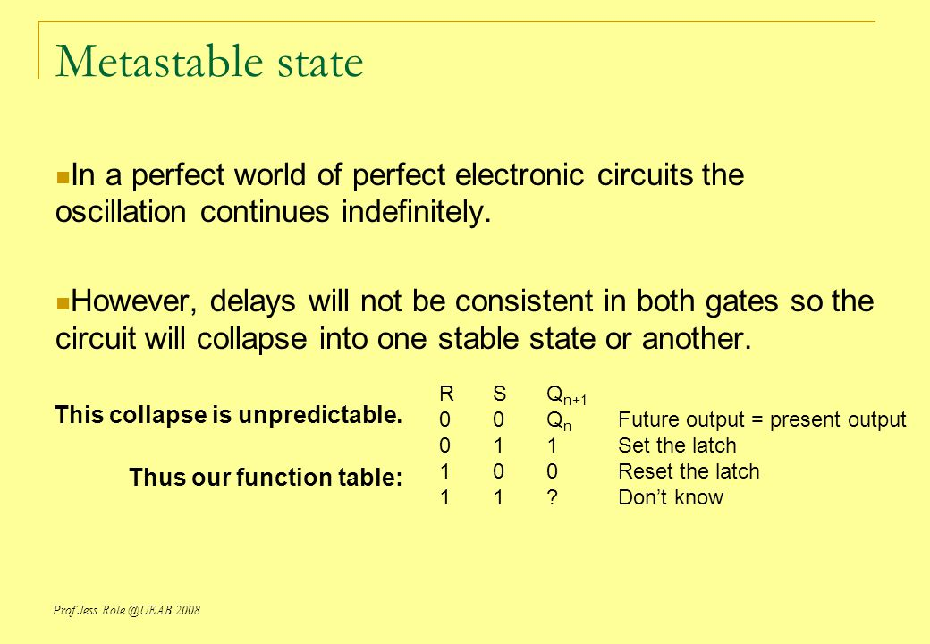 Metastable state In a perfect world of perfect electronic circuits the oscillation continues indefinitely.