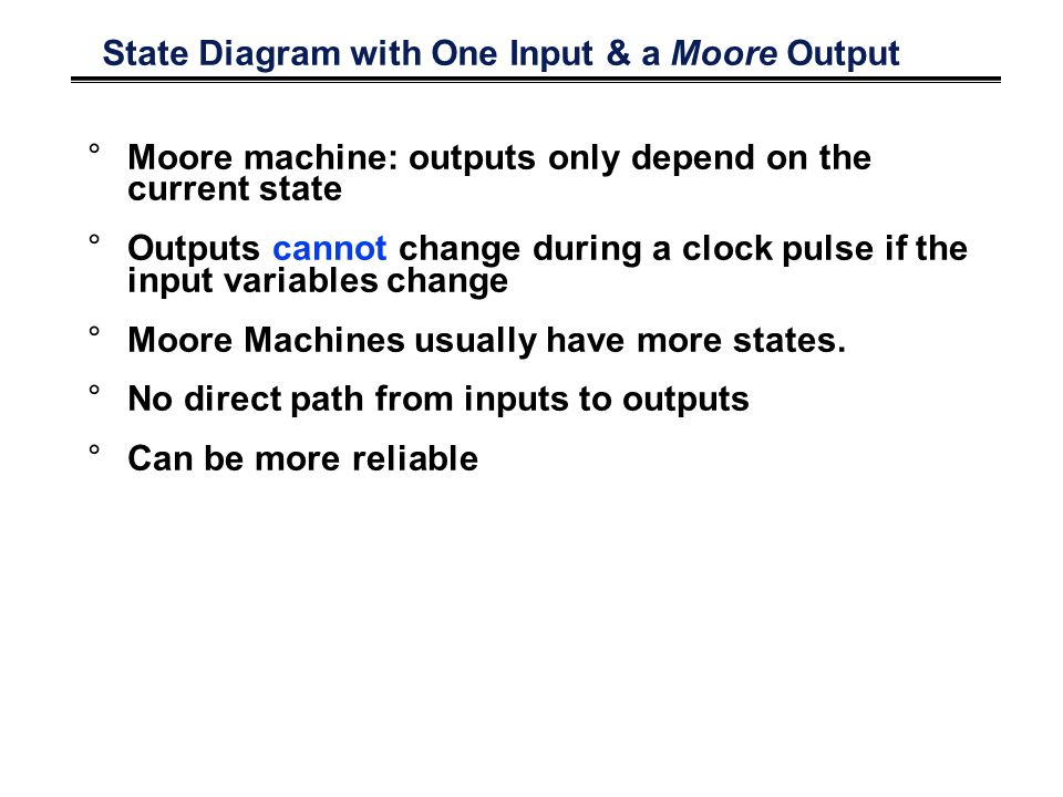 State Diagram with One Input & a Moore Output