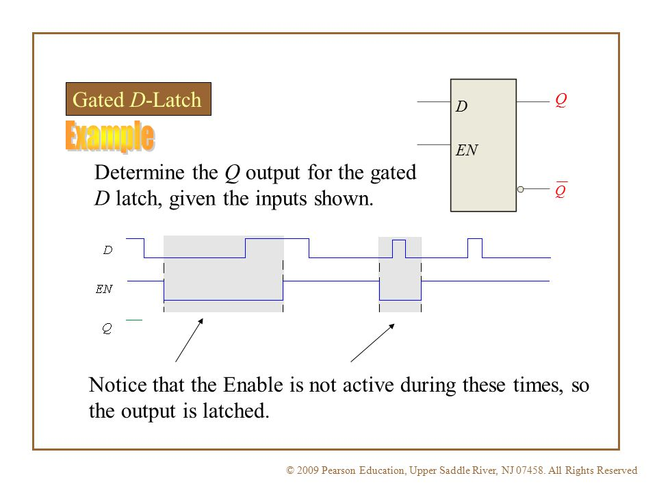 Gated D-Latch Q. D. Example. EN. Determine the Q output for the gated D latch, given the inputs shown.