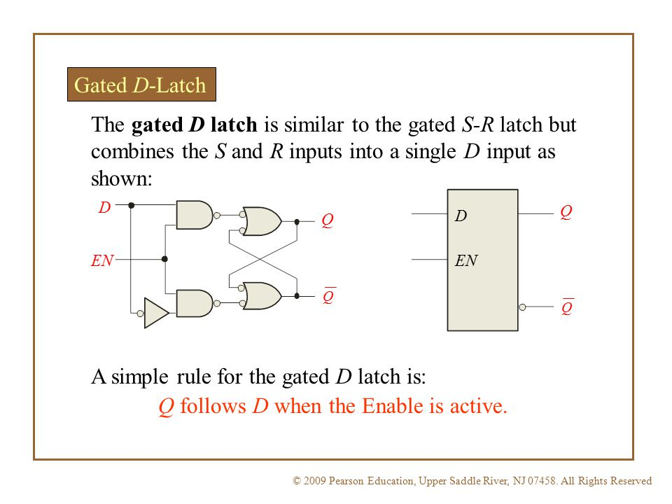 A simple rule for the gated D latch is: